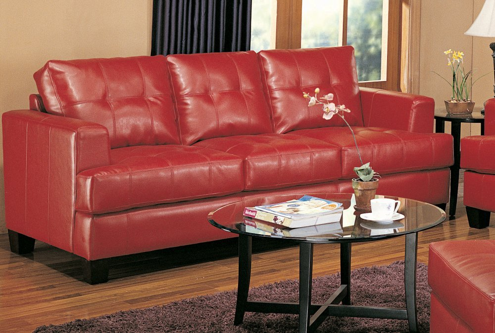 Amazon.com: Coaster Home Furnishings Casual Contemporary Sofa, Red: Kitchen  U0026 Dining