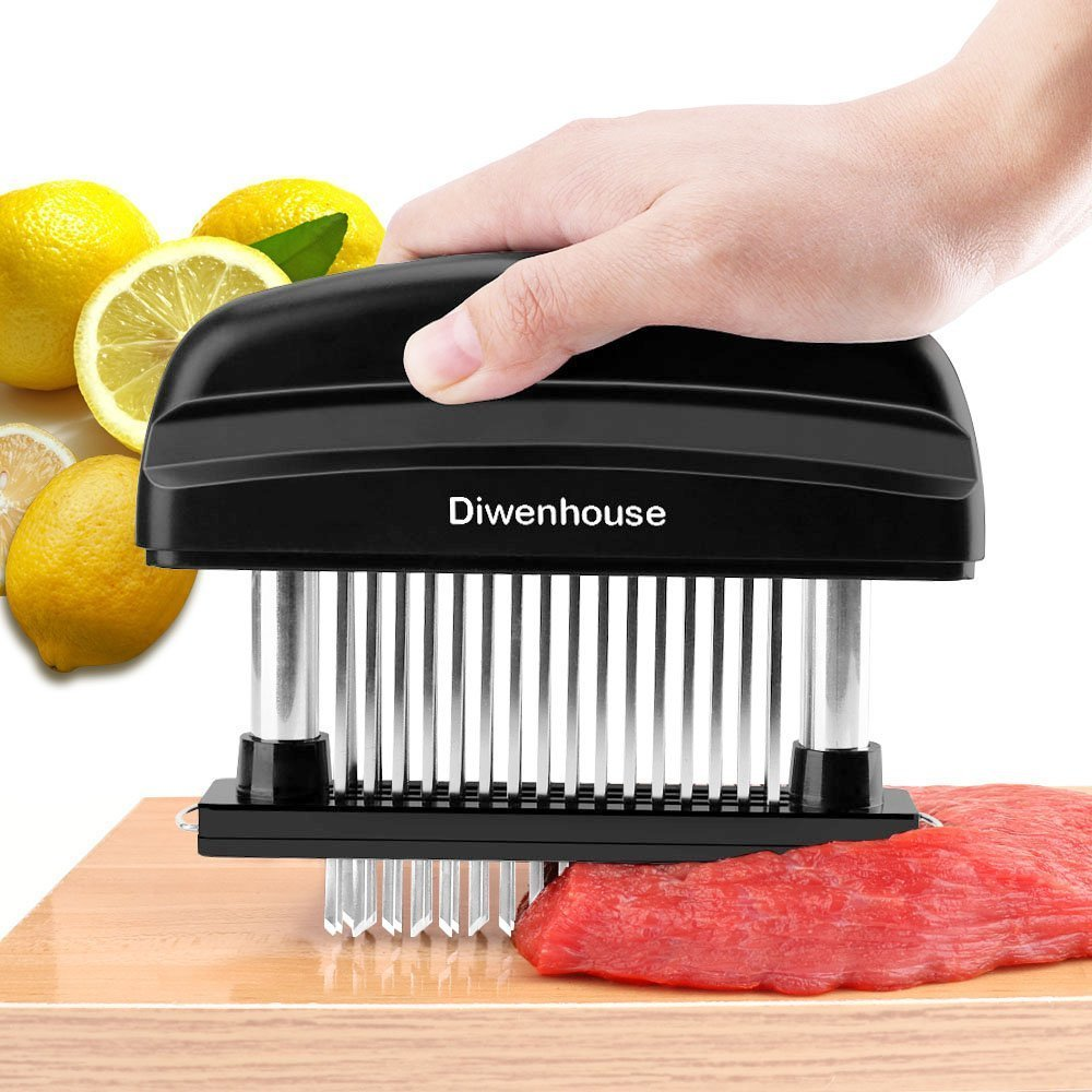 Meat Tenderizer Needle, DIWENHOUSE 48 Ultra Sharp Stainless Steel Blades with Cleaning Brush, Professional Cookware Kitchen Gadget Tenderizing Steak Turkey Chicken Beef Fish Pork (Black)