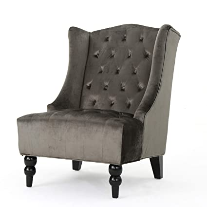 Outstanding Christopher Knight Home 301250 Talisa Tall Winged Tufted New Velvet Accent Chair Grey Caraccident5 Cool Chair Designs And Ideas Caraccident5Info