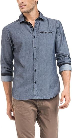 SALSA Camisa detalles polipiel: Amazon.es: Ropa y accesorios