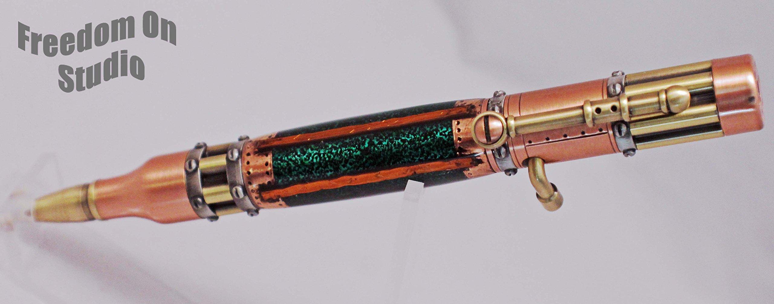 Hand Crafted Bolt Action Steampunk Pen - Green Mechanical