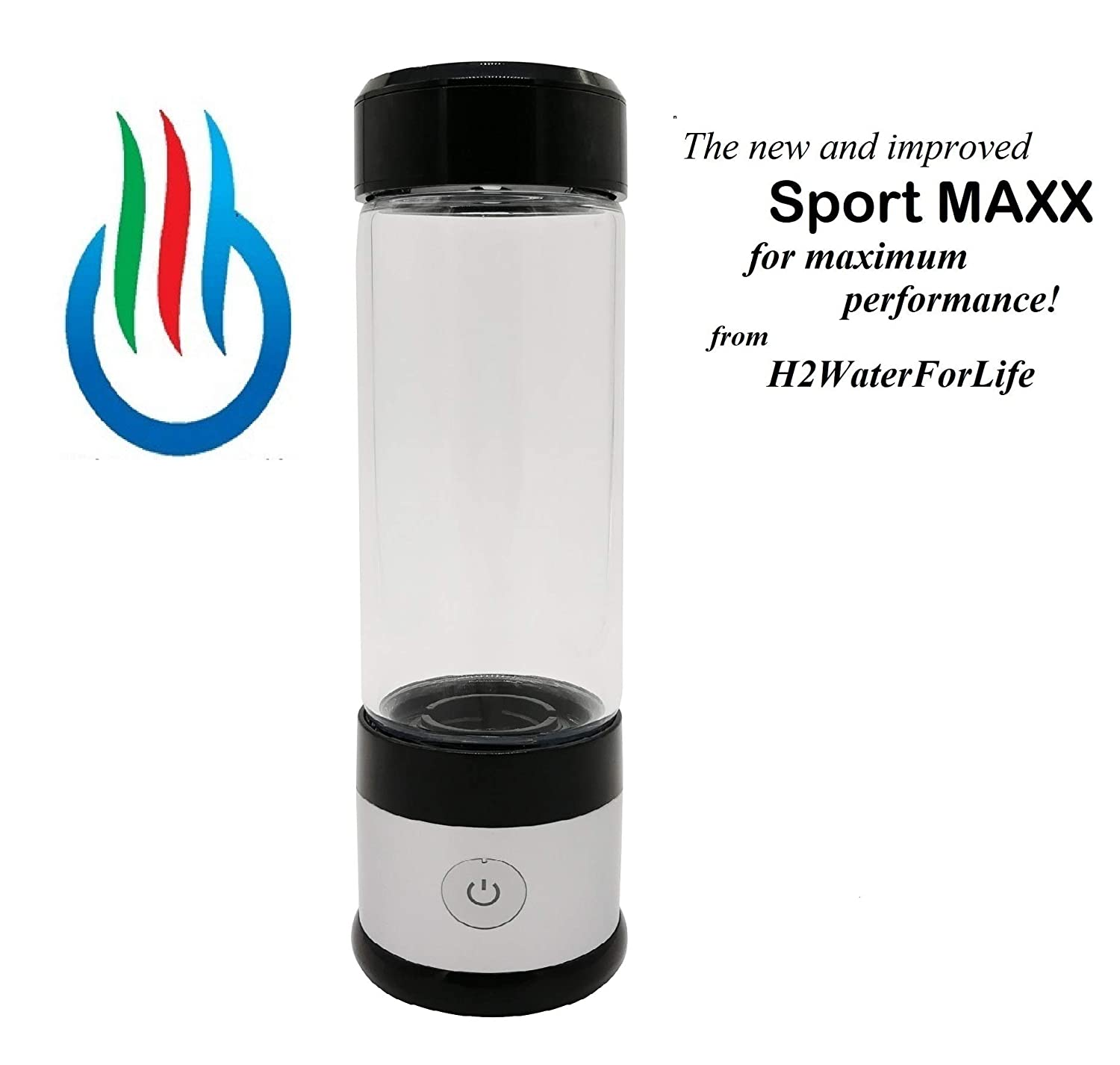 H2 USB Sports MAXX Hydrogen Water Generator with Glass Bottle