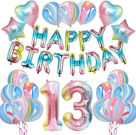 KUNGYO Arco Iris13 CumpleañosFiestaDecoraciones - Muchachas CumpleañosFiesta Suministros HAPPY BIRTHDAY Globo Bandera, Número 13 FrustrarGlobo,Arco IrisEstrella y Corazón Globo 28 Piezas