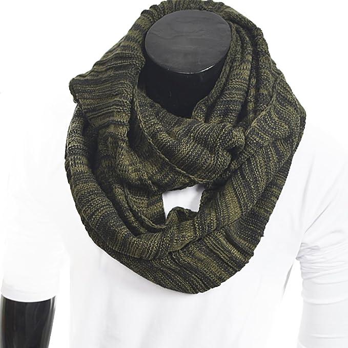 Mens Vintage Scarf Knit Infinity Scarf Winter Soft Warm Scarves 1b