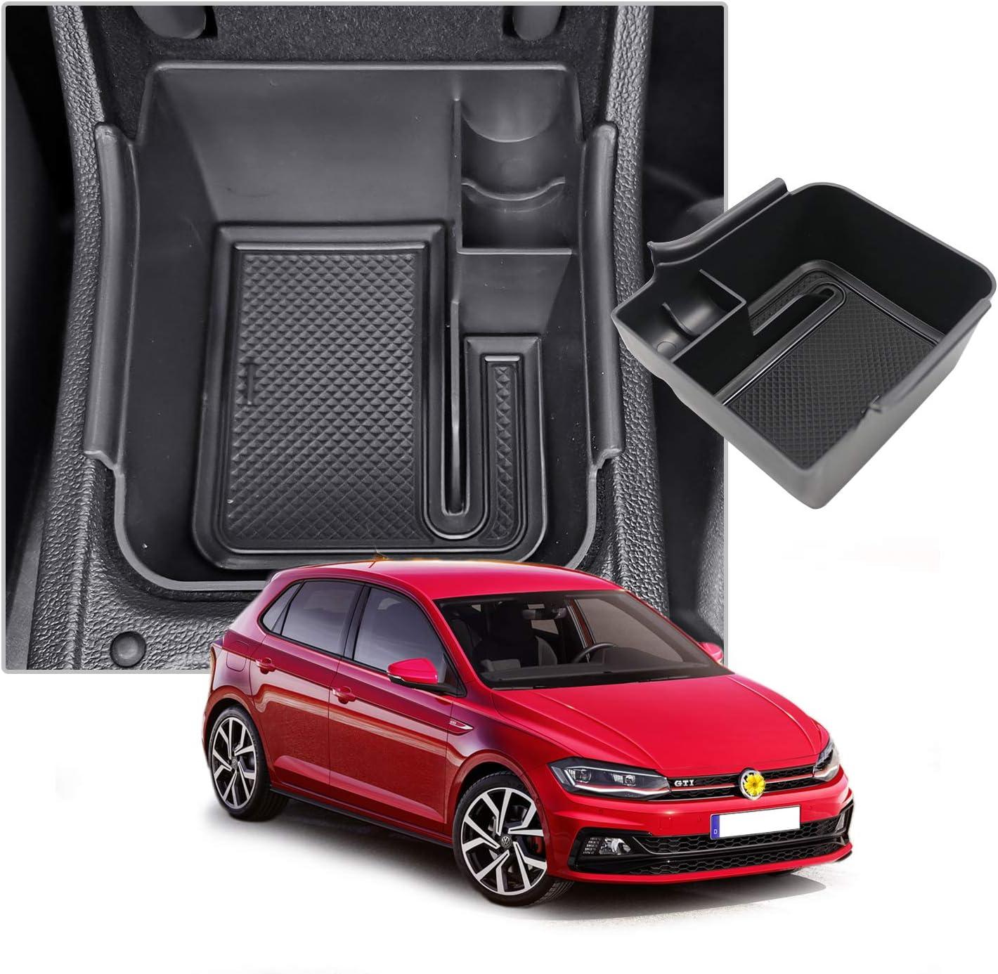 Consola Central Apoyabrazos Caja del coche Interior Center Armrest Storage Box Con Tapete Antideslizante Accesorios Interiores del coche CDEFG para V W Polo 2018-2020 Caja de almacenamiento