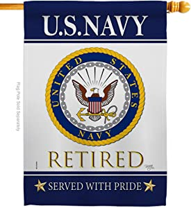 Breeze Decor US Navy House Flag Armed Forces USN Seabee United State American Military Veteran Retire Official Decoration Banner Small Garden Yard Gift Double-Sided, Made in USA