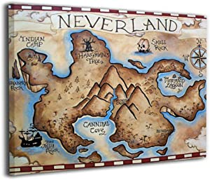 Map Of Neverland Canvas Print Wall Art Picture Painting For Living Room Bedroom Modern Home Decor Ready To Hang Stretched And Framed Artwork 16''x20''