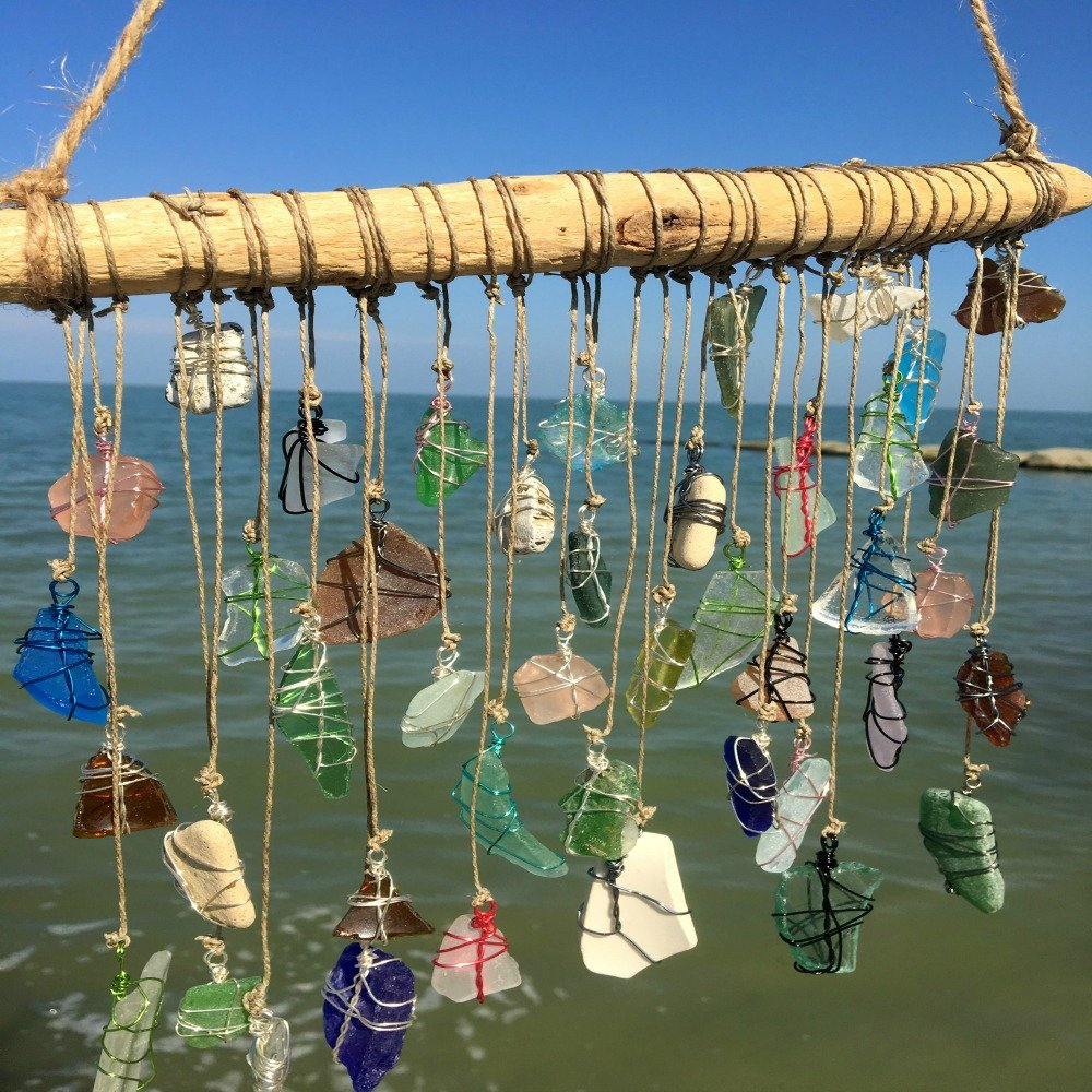 BohoBeach Glass Sun Catcher Eco Friendly Art Whimsical Driftwood Beach Wedding Swap Party Gift by Pier Beach Glass (Image #5)