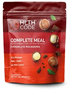 HLTH Code Complete Meal Replacement Shake - Healthiest Meal Replacement = Healthiest You | Keto Friendly | High Protein | Low Carb | Collagen | Gluten Free | Chocolate Macadamia (15 servings)