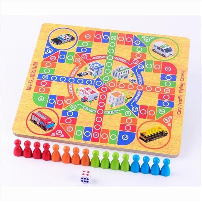 LDD-multi-función de dos en un juego de tarjeta de memoria de tráfico de la ciudad de vuelo de ajedrez de los niños rompecabezas juguetes de madera: Amazon.es: Deportes y aire libre