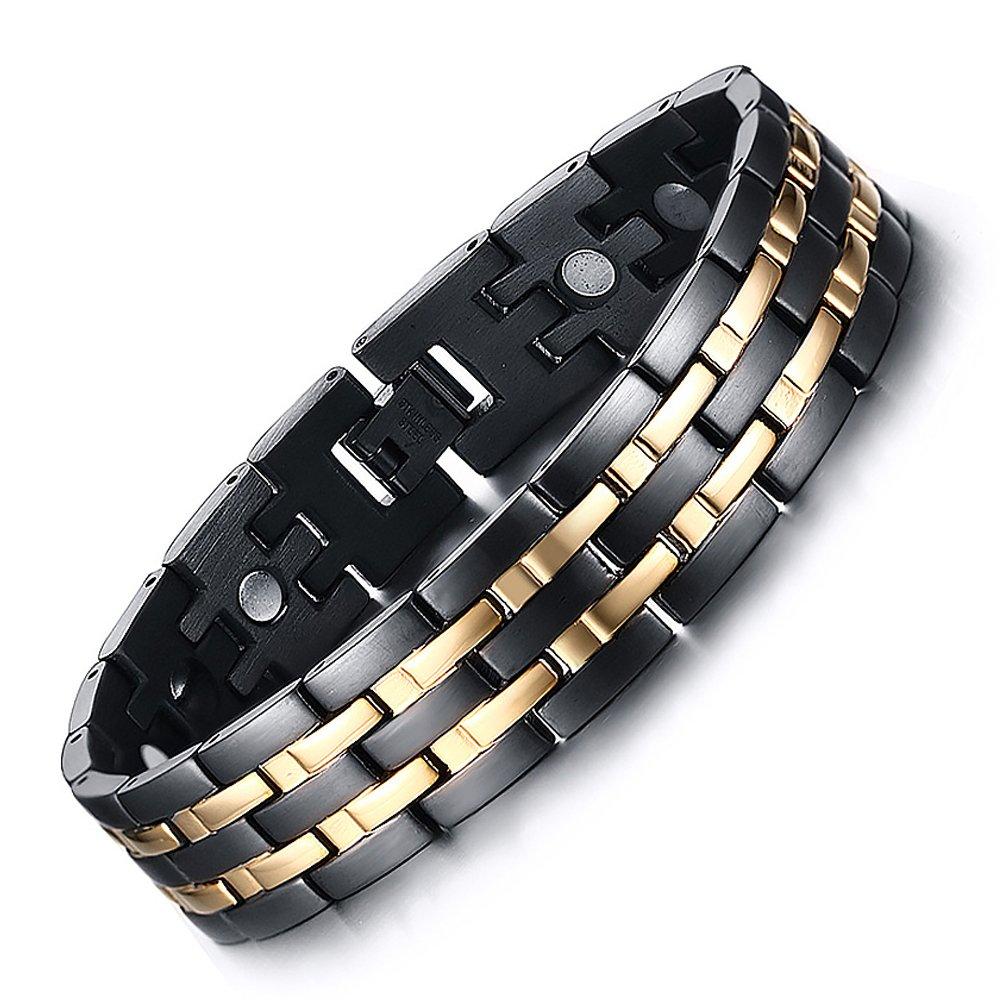 Vyaaa Para Hombre 18K Pulseras Acero Inoxidable de la salud magn/éticos oro Negro Ajustable 21.5cm con Caja de Regalo