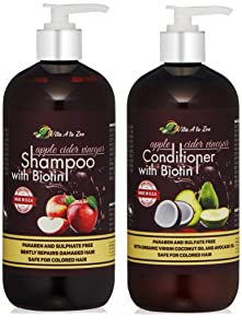Apple Cider Vinegar & Biotin Shampoo & Conditioner (2 x 16oz) | Infused with Aloe Vera Juice, Argon Oil & Saw Palmetto Extract | Balances pH, Condition, Strengthen, Moisturize & Remove Build-up