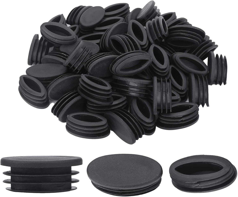 iiniim 50pcs Plastic Tubing End Cap Foot Plug Oval for Furniture Table Chair Leg Feet Type 1 OneSize
