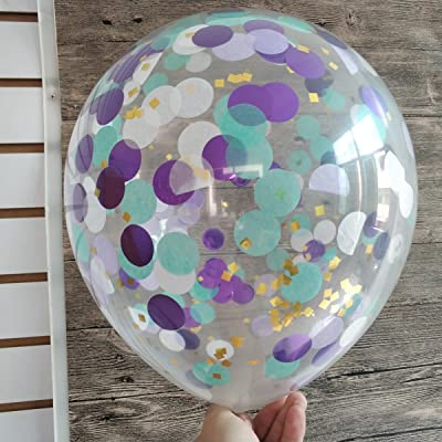 RUBFAC 60pcs Mermaid Latex Balloons for Mermaid Parties Seafoam Blue Balloons and Purple Balloons with 2 Rolls of Ribbon 12 Inches Mixed Confetti Balloons