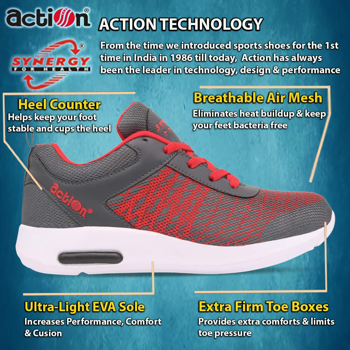 c831db855eb5 Action Synergy Men's Sports Running Shoes 7229 Grey/Red: Buy Online at Low  Prices in India - Amazon.in