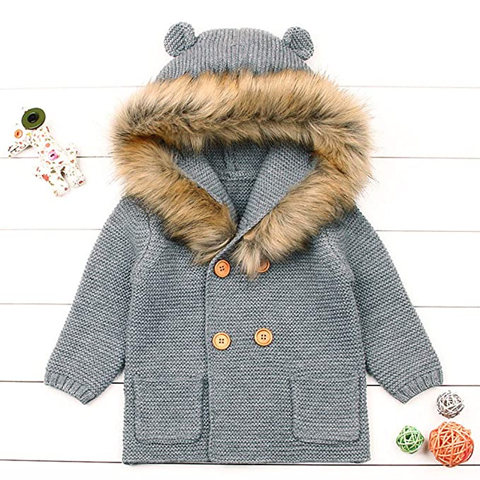 Amazon.com: Infant Winter Warm Coat,Jchen(TM) Clearance! Newborn Toddler Baby Boys Girls Faux Fur Collar Hooded Knitted Tops Autumn Winter Warm Coat for ...