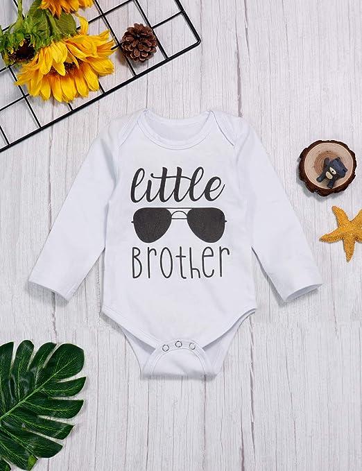 Sfuzwg Newborn Baby Clothes Little Brother 3 Pezzi Outfit Pagliaccetto Pantaloni Pantaloni Autunno Inverno Set di Stampe Elefante