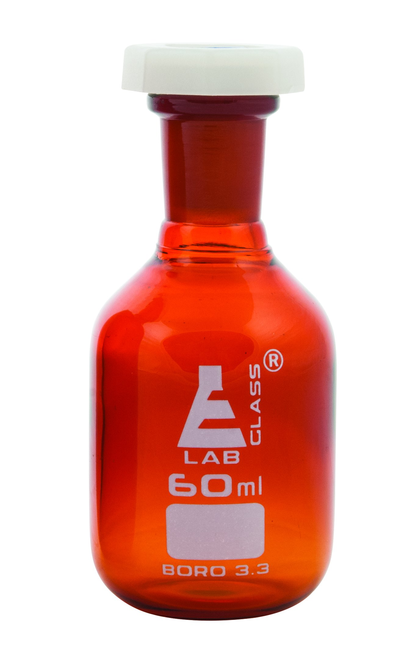 Eisco Labs 60ml Amber Reagent Bottle , Narrow Mouth with Acid Proof Polypropylene stopper, socket size 14/23