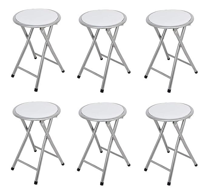 La Silla Española - Pack 6 Taburetes plegables fabricados en aluminio con asiento acolchado en PVC. Color blanco. Medidas 45x30x30