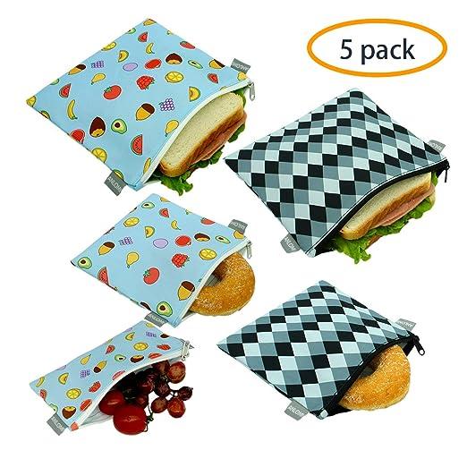 Bolsas reutilizables para sándwiches, juego de 5 unidades ...