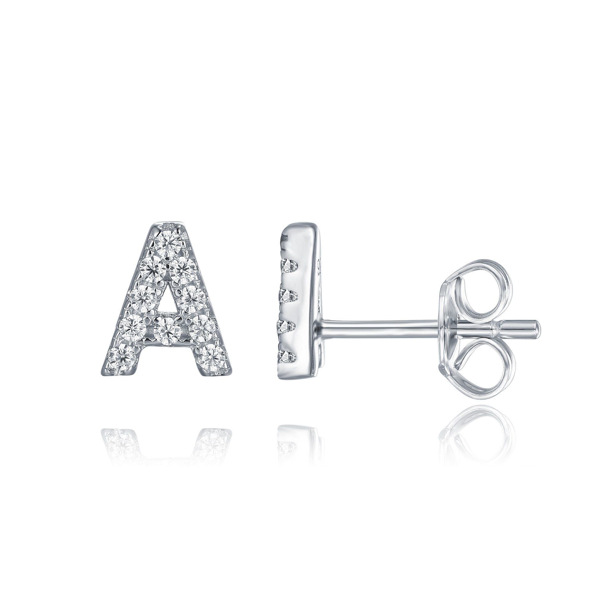 PAVOI 925 Sterling Silver CZ Simulated Diamond Stud Earrings Fashion Alphabet Letter Initial Earrings - A by PAVOI