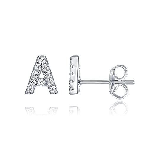 f49c6c23b PAVOI 925 Sterling Silver CZ Simulated Diamond Stud Earrings Fashion Alphabet  Letter Initial Earrings - A