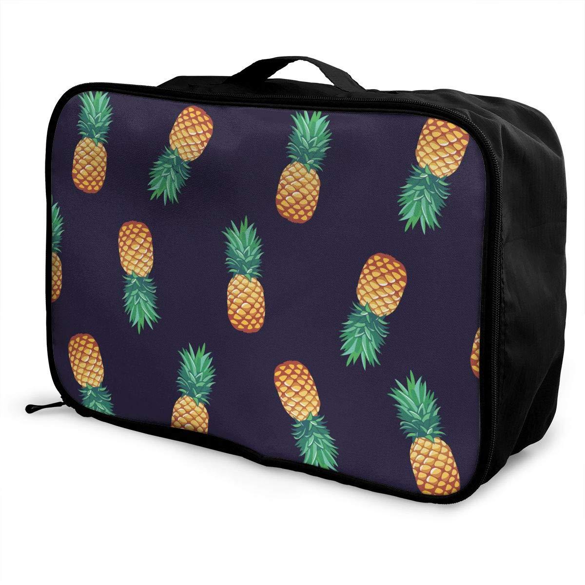 Pineapple Pattern Travel Duffel Bag Casual Large Capacity Portable Luggage Bag Suitcase Storage Bag Luggage Packing Tote Bag Weekend Trip