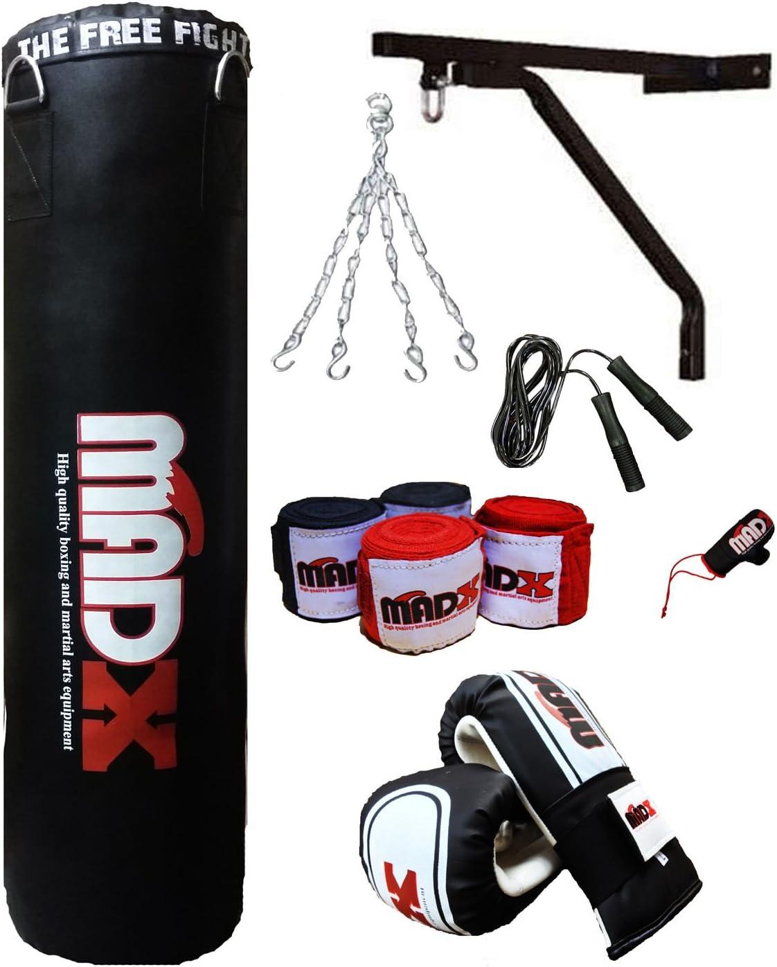 MADX - Juego de boxeo profesional de 10 piezas con saco de boxeo relleno y pesado color negro de 1,2 o 1,5 m, soportes de pared y guantes, también para artes marciales