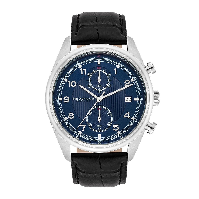 Joh. Rothmann Sigurd Herrenuhr Chronograph blau - silber Edelstahl Armband Echtleder schwarz 5 ATM 10030128
