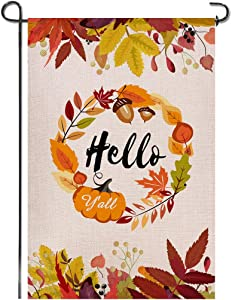 Shmbada Hello Y'all Fall and Thanksgiving Day Welcome Burlap Garden Flag, Double Sided Premium Material, Autumn Leaves Seasonal Outdoor Banner Decorative Flags for Home Yard Lawn, 12.5 x 18.5 Inch