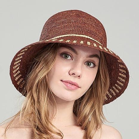 3c8b3b4f05bcc SUSHI Sombrero de Paja de Rafia para Mujer - Gorra de Playa de Borde Ancho  Plegable al Aire Libre Sombrero de Sol de Verano para Playa Sombrero de Paja  de ...