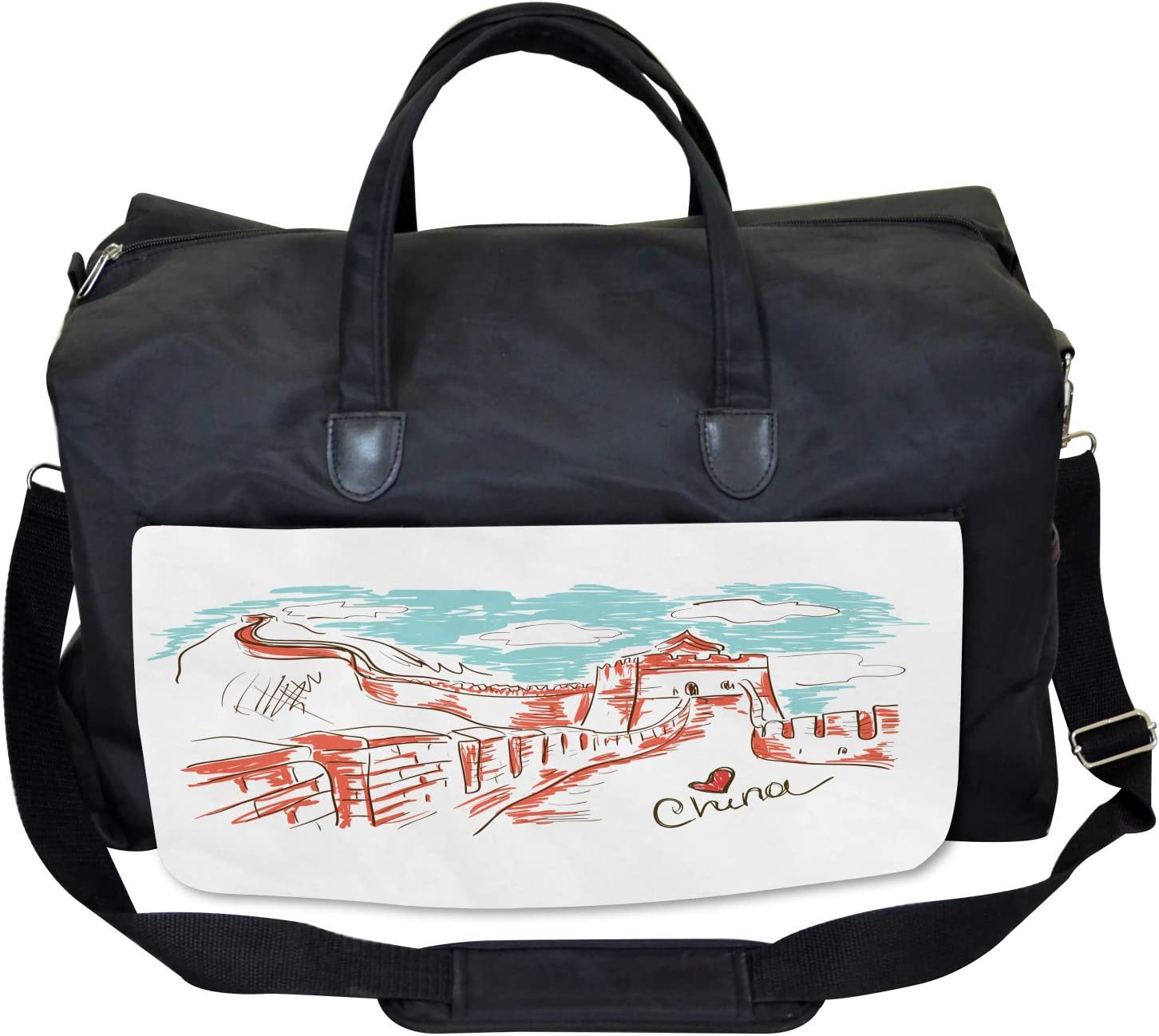 Large Weekender Carry-on Ambesonne Scenery Gym Bag Sketch Chinese