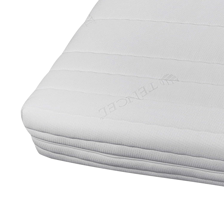 Hochwertiger Tencel Matratzenbezug für Matratzen im Gesamtmaß (mit Bezug) 160x200cm 18cm Höhe - Doppeltuch mit Klimafaser versteppt - Allergiker geeignet - 60 Grad waschbar - 4-seitiger Reißverschluss