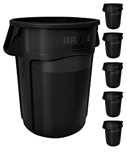 Rubbermaid Commercial Products BRUTE Heavy-Duty Round Trash/Garbage Can with Venting Channels - 32 Gallon - Black (Pack of 6)