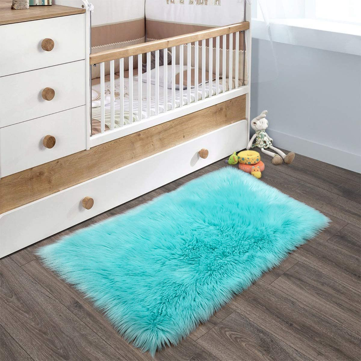 YOH Super Soft Area Rugs Silky Smooth Bedroom Mats for Living Room Kids Room Multicolor Optional Home Decor Carpets (2 x 3 Feet Rectangle, Light Blue)