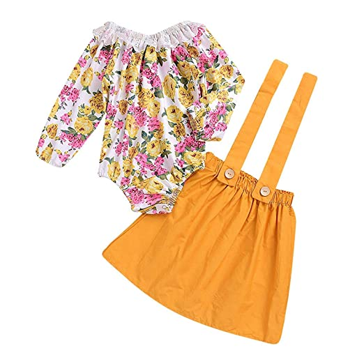 a3f08a4a87e Amazon.com  Infant Baby Girl Floral Suspenders Skirt Long Sleeve Lace Romper  Top + Bottom Overalls Strap Dress Two-Piece Set Yellow  Clothing