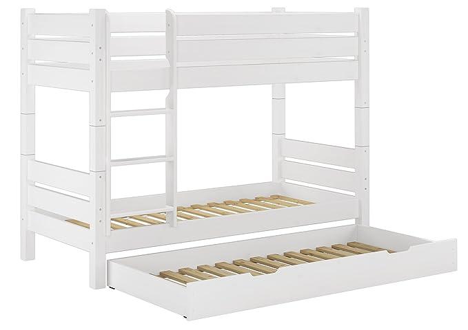 Dreier Etagenbett Erwachsene : Erst holz etagenbett kiefer weiß cm nische teilbar
