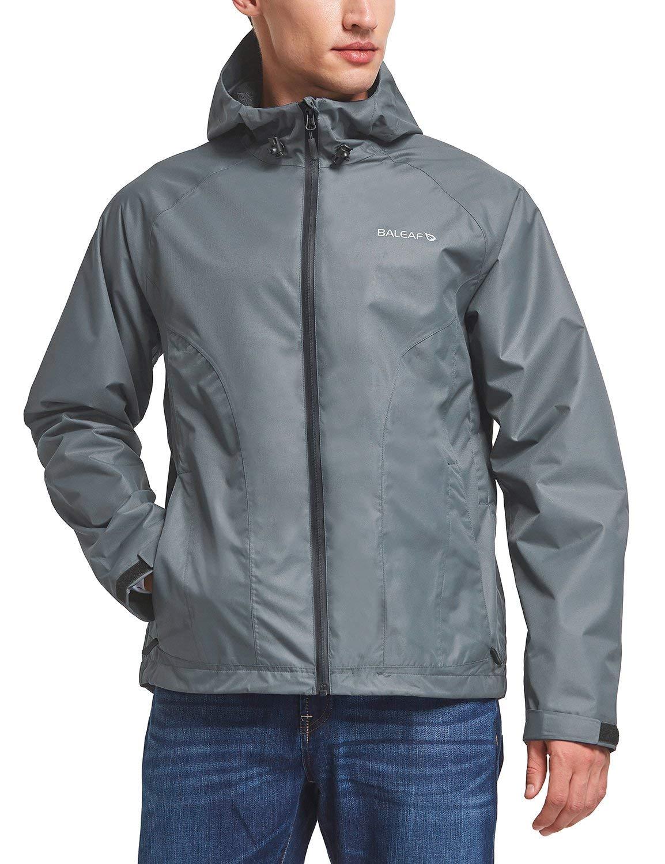 Baleaf Men's Waterproof Rain Jacket Lightweight Windbreaker Breathable 3K/3K for Hiking, Climbing, Camping, Mountaineering Dark Grey Size 3XL by Baleaf