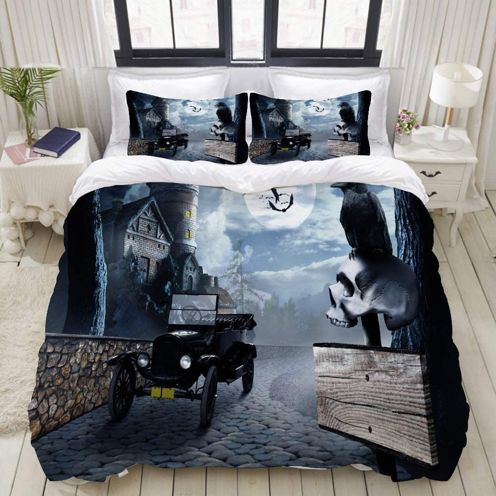Amazon Com Tmssunci Kids Duvet Cover Sets Black Crow On Roadside Signpost Human Master Bedroom Girls Bedding Sets 3 Piece Queen Full 88 X88 Home Kitchen