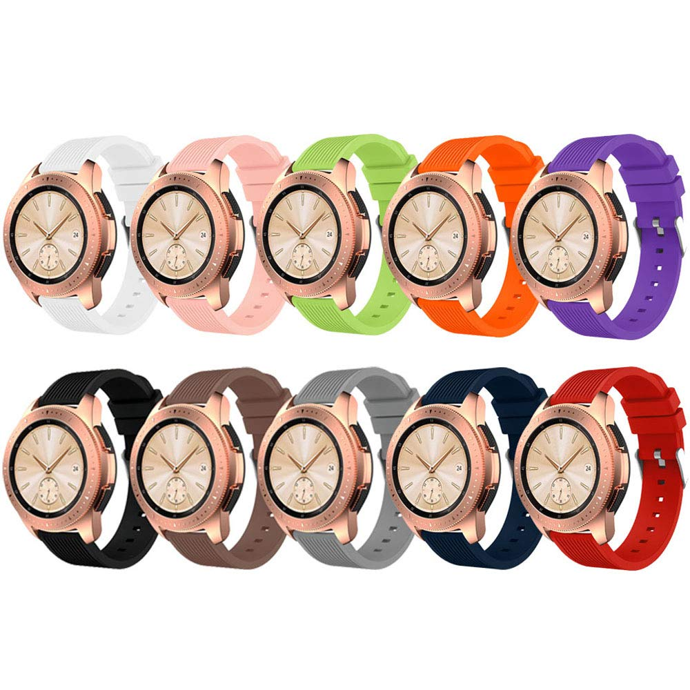 ZSZCXD Compatible for Samsung Galaxy Watch 42mm, 20mm Width Silicone Replacement Strap Wristband WatchBand for Samsung Galaxy (42mm) SM-R810/SM-R815 (A - 10Pcs, 20mm Width) by ZSZCXD