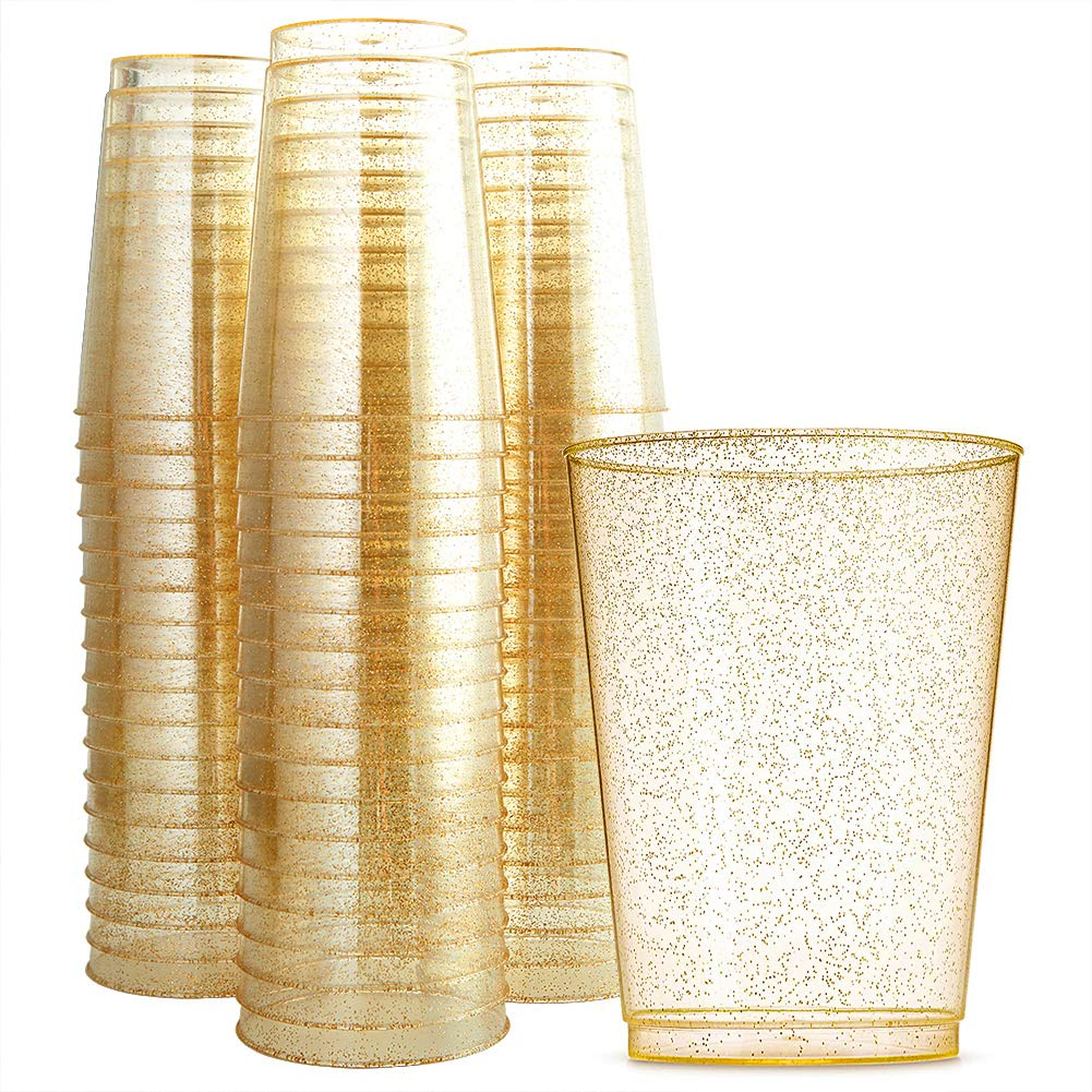 WDF 100pcs 12OZ Gold Cups,Disposable Gold Glitter Plastic Cups-Premium Wedding Cups-Party Cups (Gold Glitter Cups)