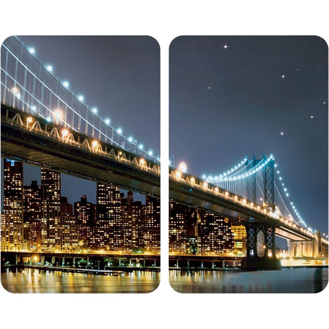 Wenko 2521320100 Coprifuochi vetro Universale Brooklyn - set 2 pezzi, per tutti i tipi di piani di cottura, Vetr - Vetro temperato, 30 x 1.8-4.5 x 52 cm