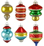 """Set of 6 Early Years Retro Glass Finial and Top Christmas Ornaments 3"""""""