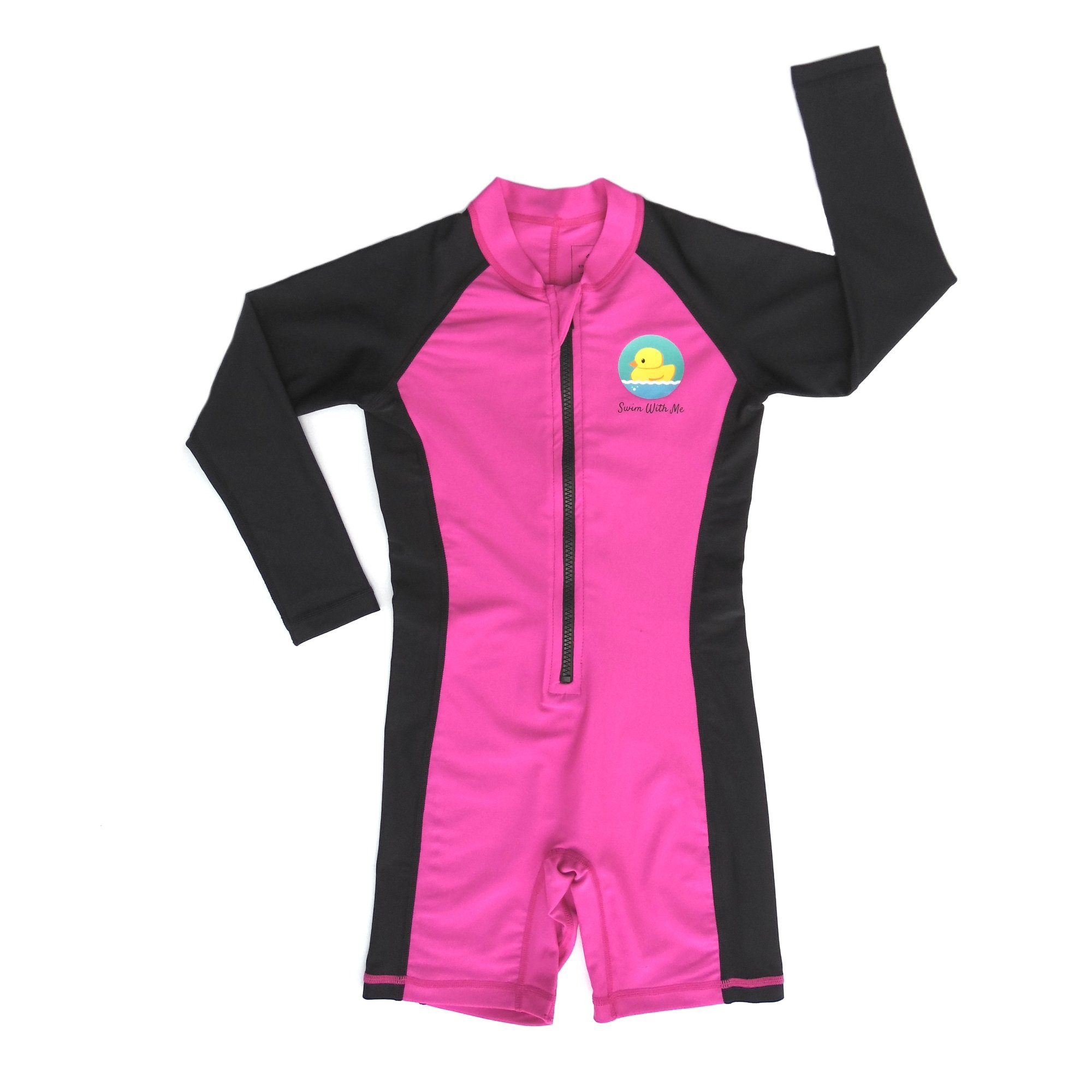 Swim with Me- SPF 50+ Total Sun Protection Swimsuit for Infant, Baby, Toddler, and Kids! (Magenta, 3 Years) by BIB-ON