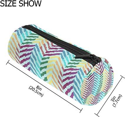 COOSUN - Estuche con diseño de ondas arcoíris abstractas, forma cilíndrica, estuche de papelería, bolsa de maquillaje: Amazon.es: Oficina y papelería