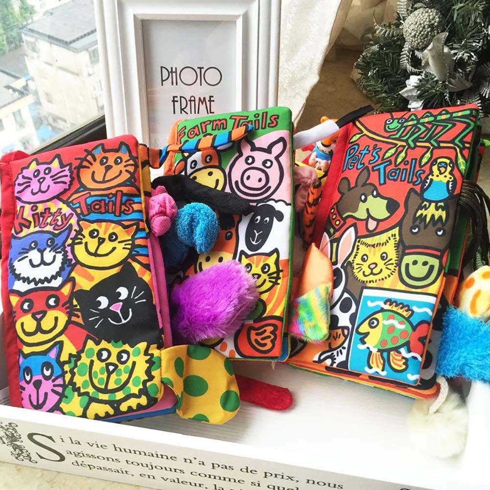 // Naisicatar 1pc de dibujos animados libro de pa/ño Est/éreo Cama Animal colas ni/ños del beb/é Decoraci/ón juguete educativo temprano Interactivo regalo de Navidad animal de la selva
