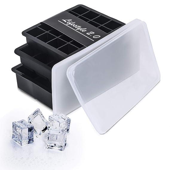 Lifestyle 2.0 Eiswürfelform Mit Deckel 3er Set Silikon-Formen Eiswürfelbehälter BPA-Frei Für Eiswürfel Klein Bis Groß