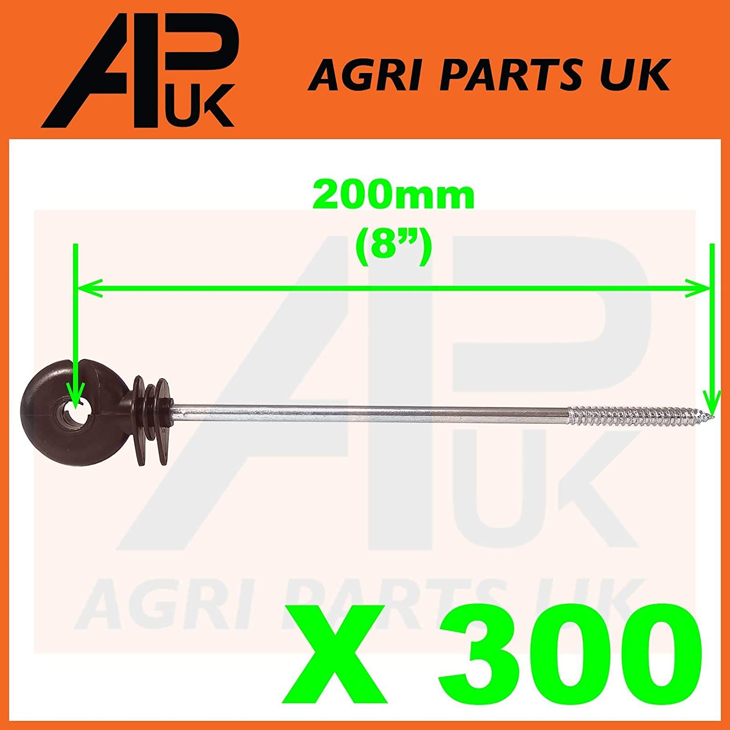 APUK 300 x Long Distance Ring Screw Insulators Electric Fence Poly wire Rope Offset
