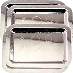 Maro Megastore (Pack of 3) 16.9 Inch x 12.2 Inch Oblong Chrome Plated Mirror Serving Tray Stylish Bubble Circle Engraved Edge Decorative Party Birthday Wedding Dessert Buffet Wine Platter Plate CC-783
