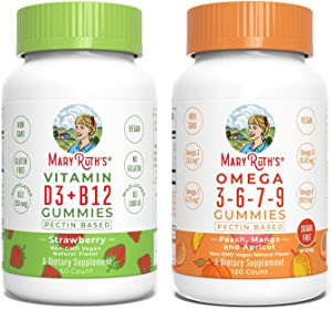 Vitamin D3+B12 & Omega Gummies Bundle by MaryRuth's | Vitamin D3+B12 Gummies for Kids & Adults, 60ct | Omega 3-6-7-9 Gummies for Kids & Adults, 120ct | Vegan, Non-GMO, Gluten Free